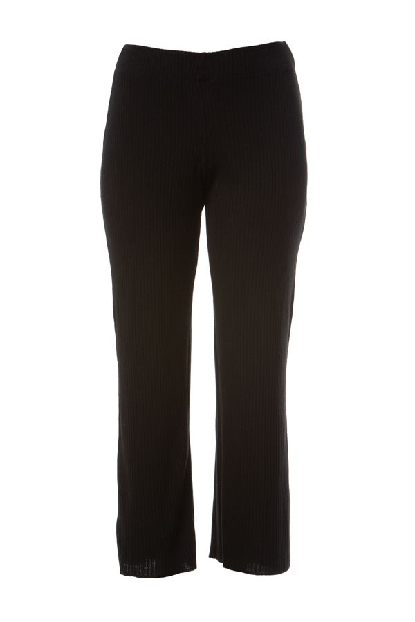 Wide leg knit rib trousers in black colour