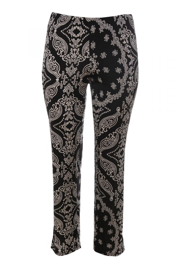 Wide leg trousers with print in white/black colour