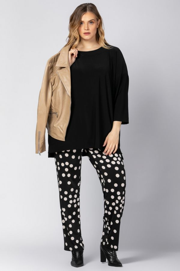 Super jersey polka dot wide leg trousers in black colour