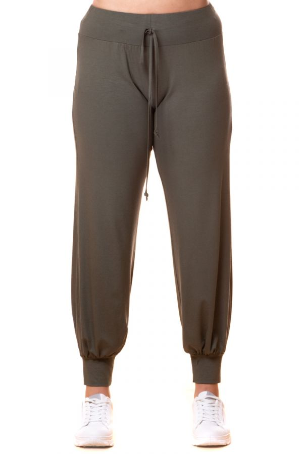 Light-weight cuffed leg joggers in khaki colour