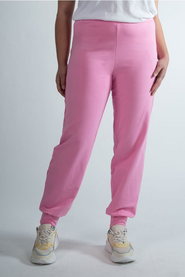 Sweatpants with elasticated cuffs in pink colour