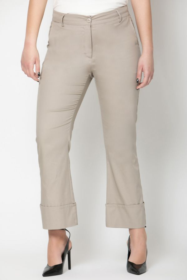Trousers with wide cuffs in beige colour