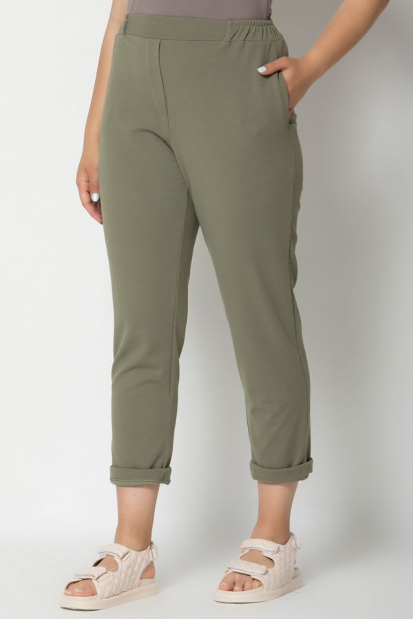 Heavy-weight cigarette trousers with rolled cuffs in khaki colour