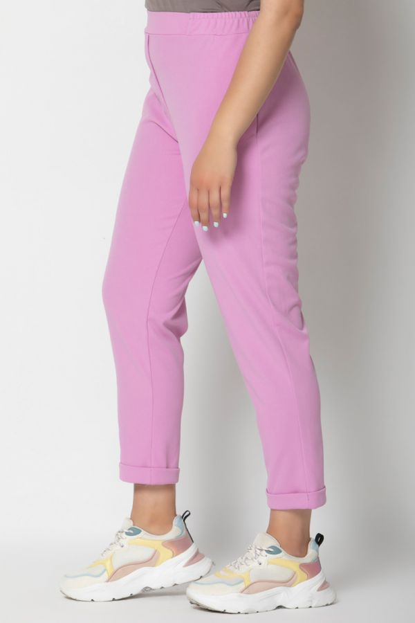 Heavy-weight cigarette trousers with rolled cuffs in lilac colour