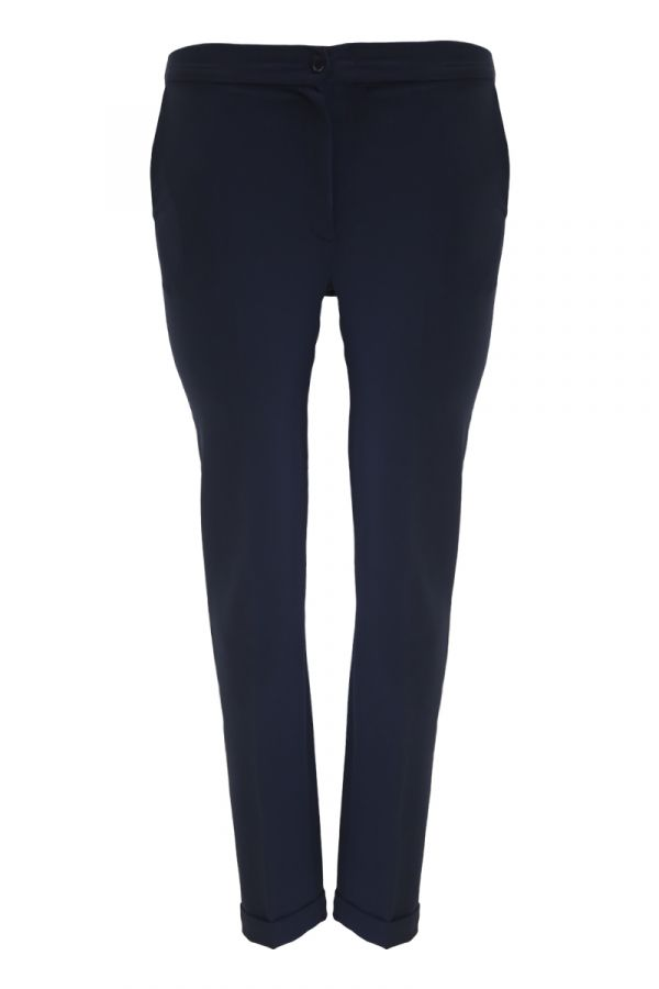 High-waisted trousers in blue colour