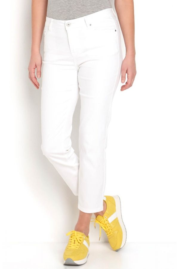 Straight leg twill trousers in white colour