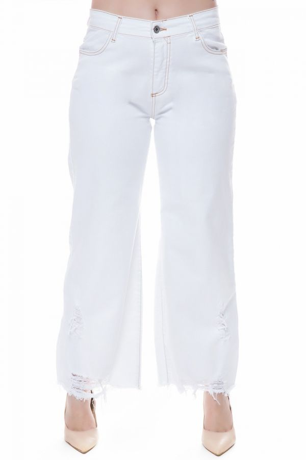 Jeans with frayed hem in denim white colour