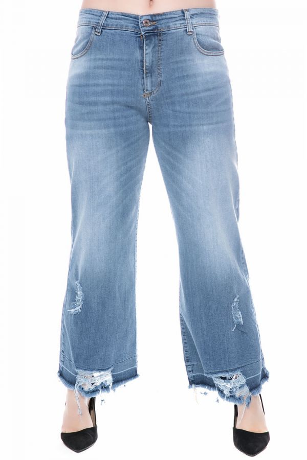 Jeans with frayed hem in denim blue colour