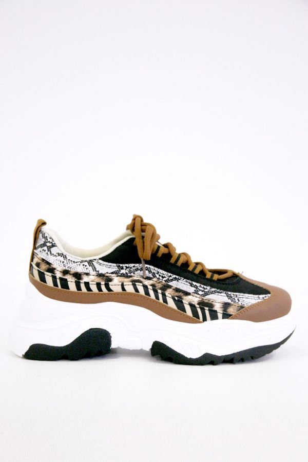 Animal print women's sneakers in camel colour