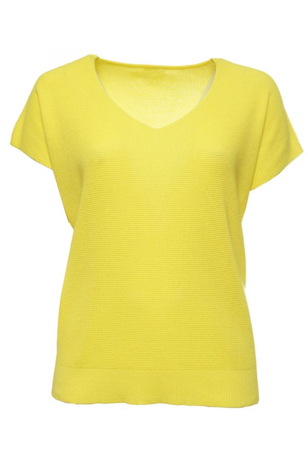 Knit short sleeve top with V neckline in yellow colour