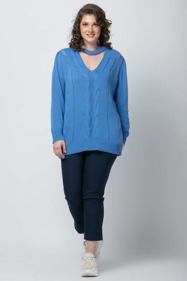 Knit jumper with choker detail in indigo colour