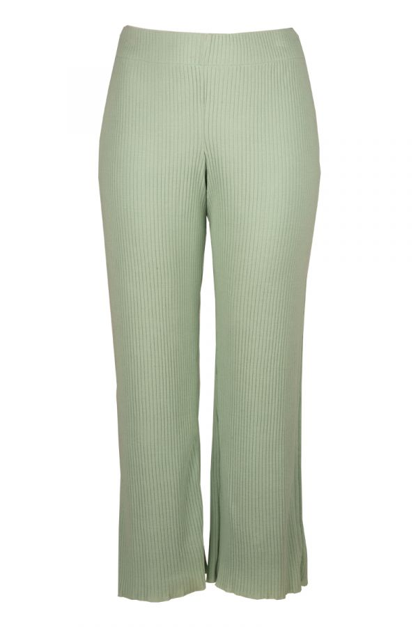 Wide leg knit rib trousers in mint colour