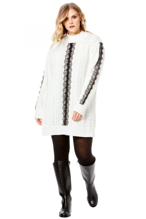 Long knit jumper with lace details in ecru colour