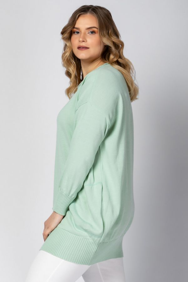 Loose fit knit jumper in mint colour