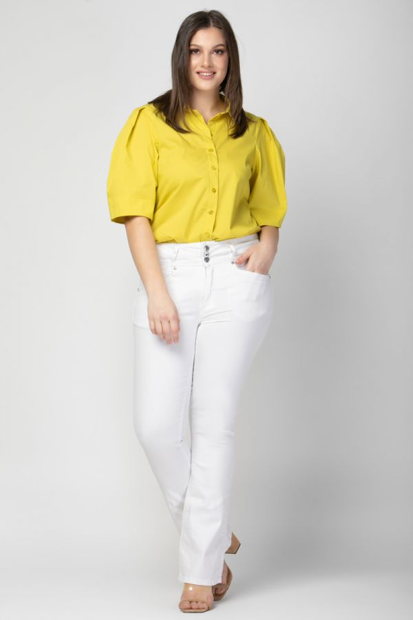 Poplin shirt with balloon pleated sleeves in yellow colour