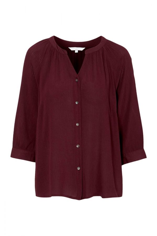 Shirt with 3/4 sleeve in bordeaux colour