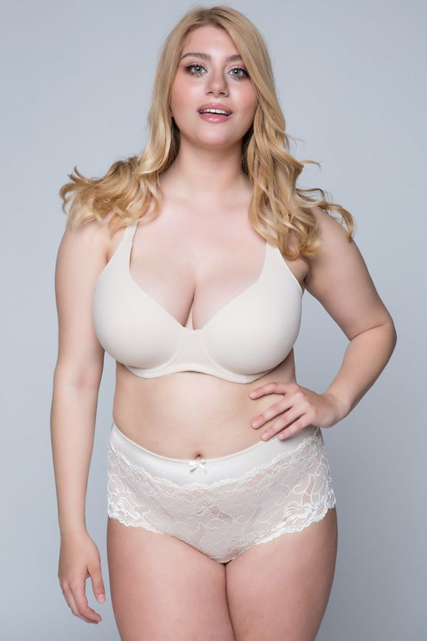High-waisted lace brief (2 pcs White/Beige)