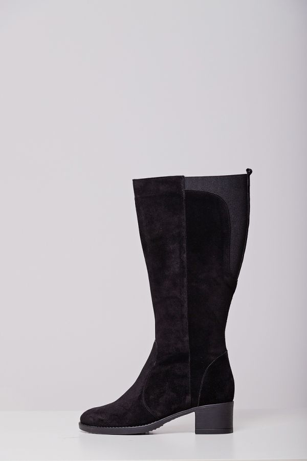 Real leather wide calf boots with elasticated insert on the back in black colour