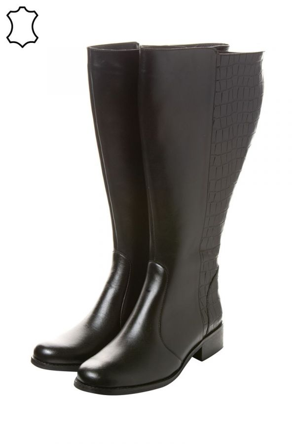 Extra wide calf mixed croc and leather boots in black colour
