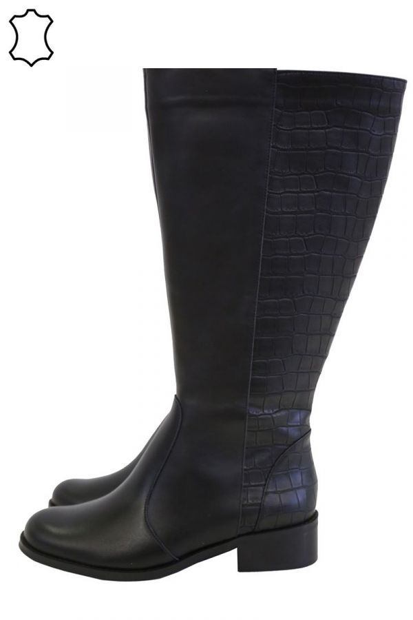 Mixed croc and leather boots in black colour