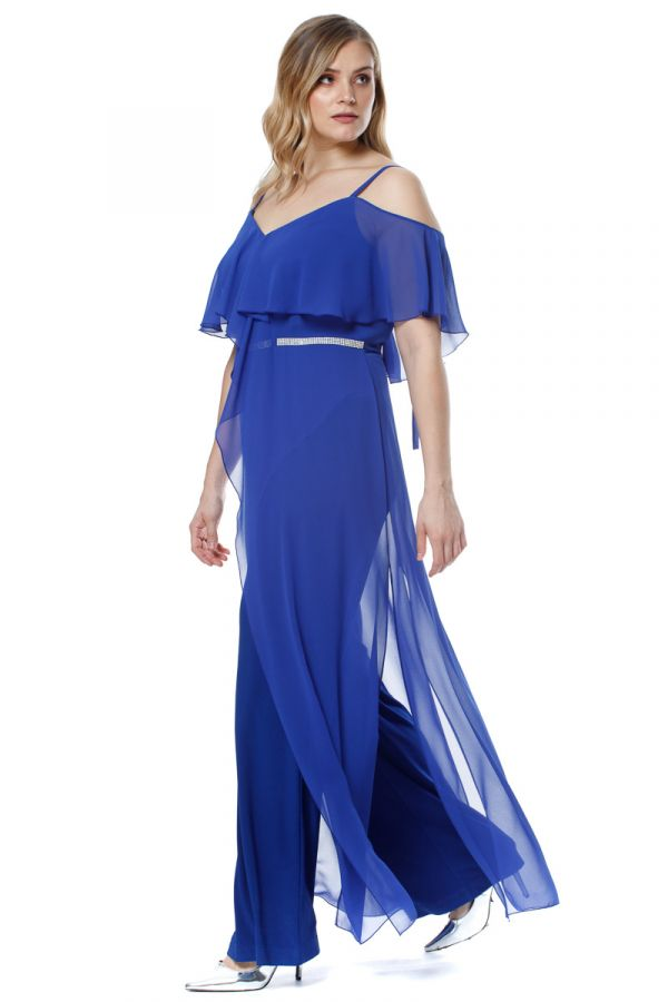 Layered ruffle jumpsuit in royal blue colour