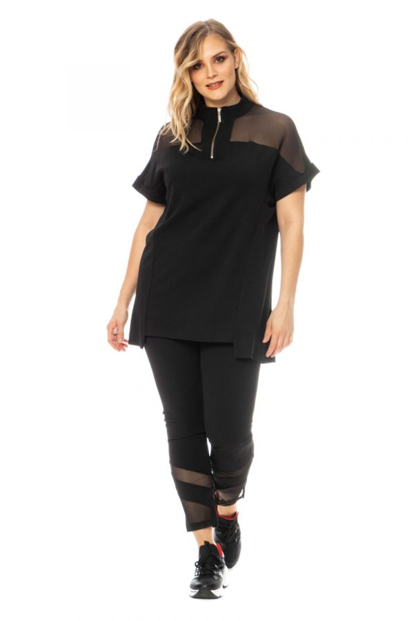 High-rise scuba leggings with mesh details in black colour
