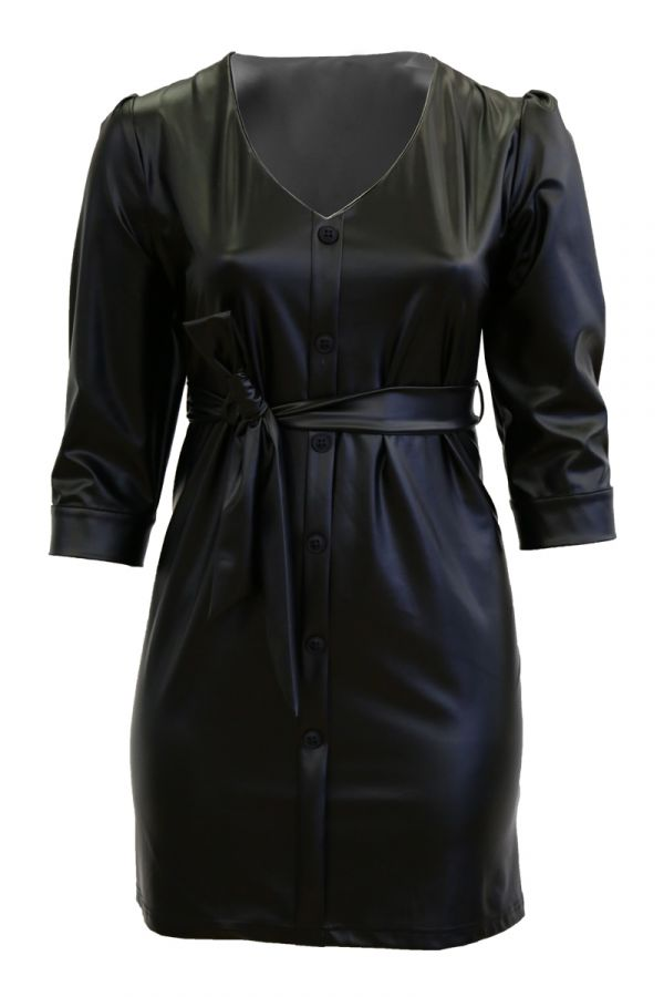 Leather-like shirt dress in black colour