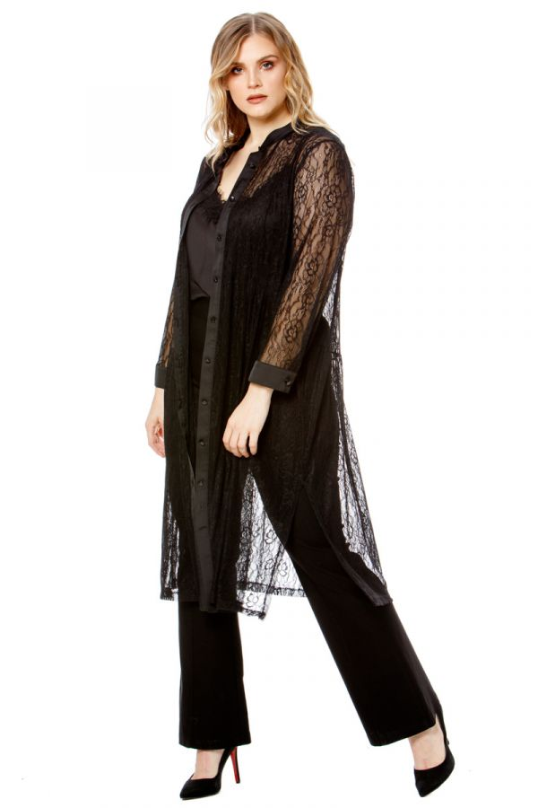 Midi sheer lace shirt dress in black colour
