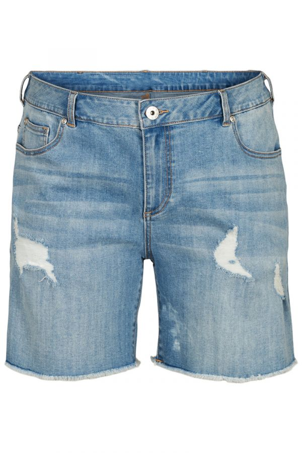 Jean distressed shorts in denim light blue colour
