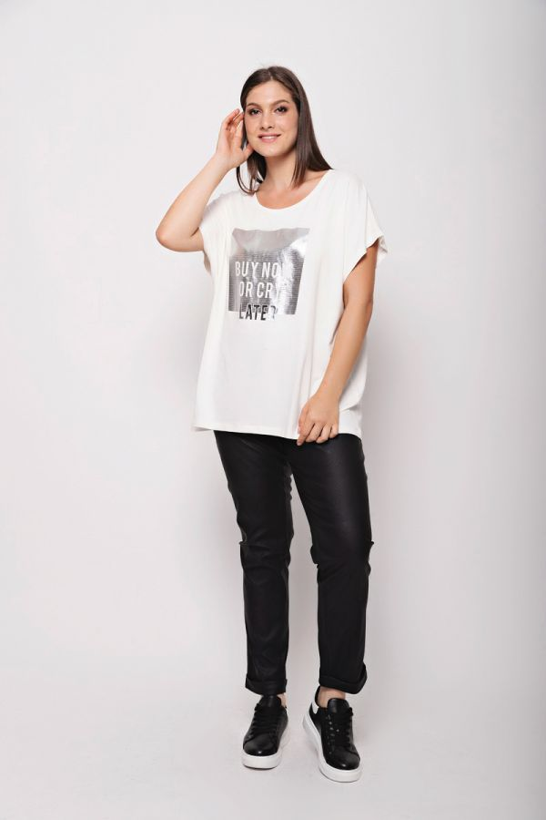 """T-shirt with """"Buy now or cry later"""" print in ecru colour"""