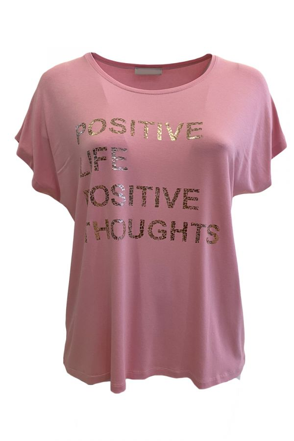 """T-shirt with """"Positive"""" print in pink colour"""