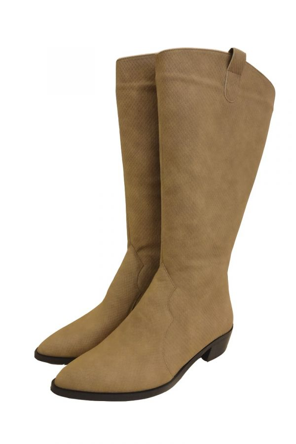 Knee high wide calf croc boots in taba colour