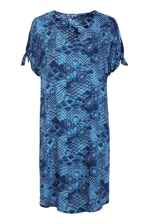 Tunic with tie sleeve in blue colour