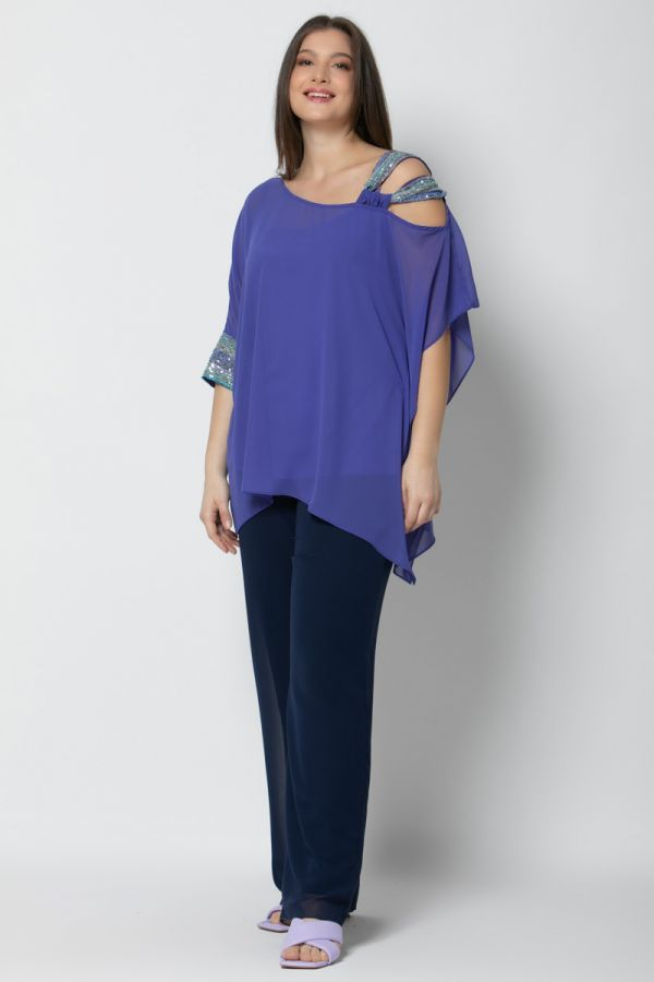 Tunic with sequin embellished details in blue colour