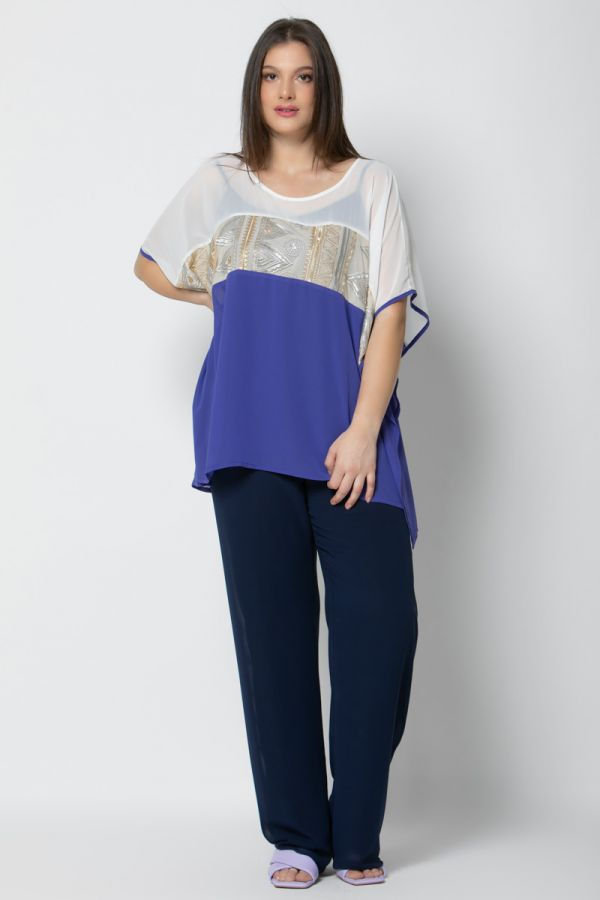 Asymmetric tunic with gold ringdove in royal blue colour