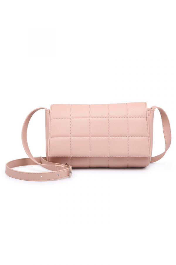 Crossbody quilted bag in powder pink colour
