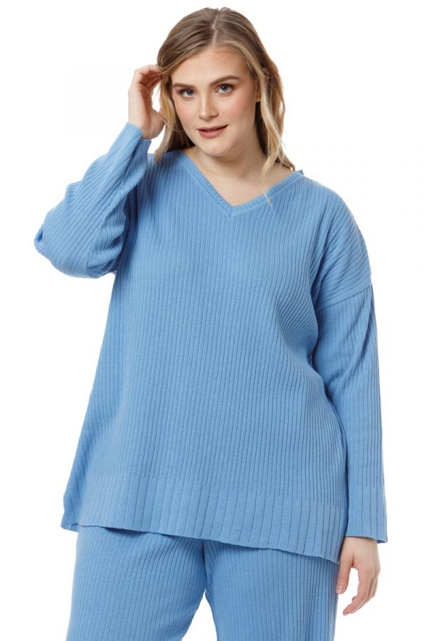 Cotton v-neck knit rib blouse in indigo colour