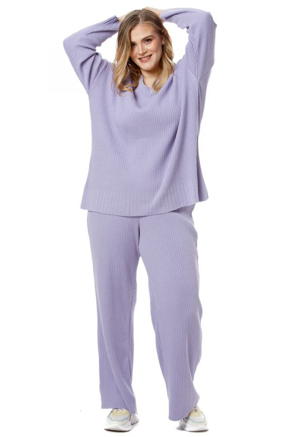 Cotton v-neck knit rib blouse in lilac colour