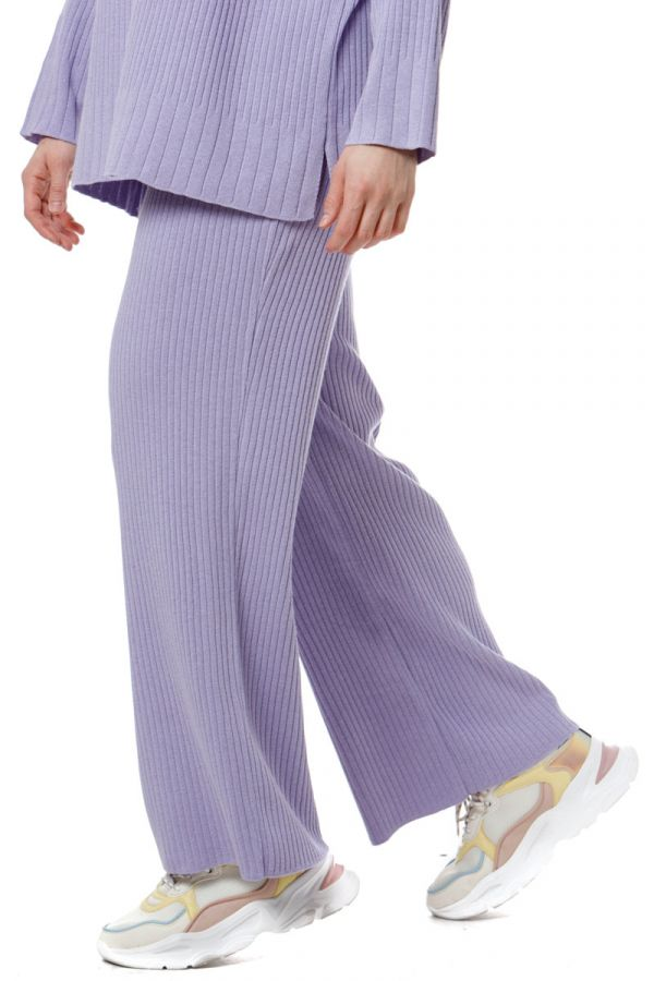 Cotton wide leg knit rib trousers in lilac colour