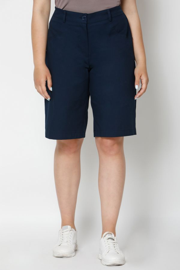Bermuda shorts with elasticated waistband in blue colour