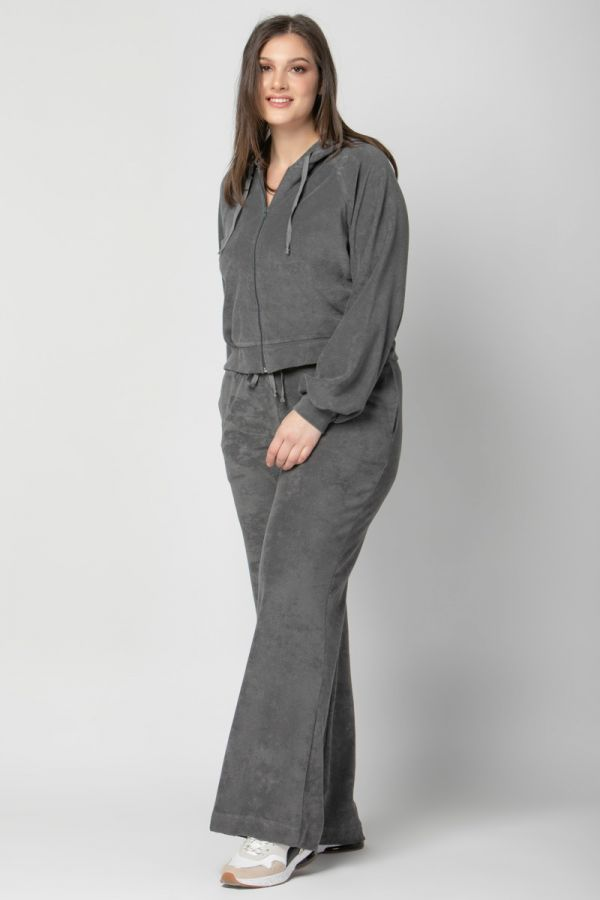Terry towelling hooded track top in grey colour