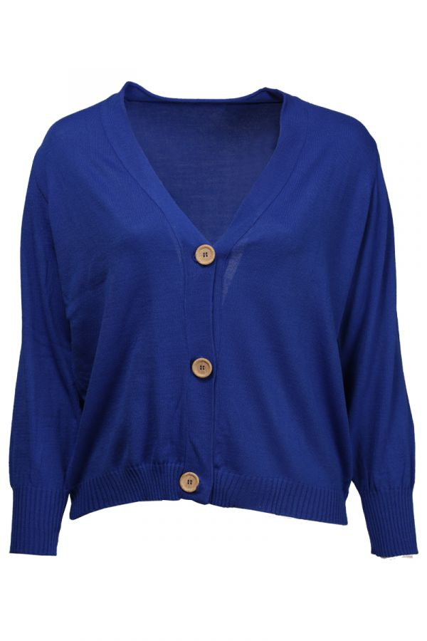 Short knit cardigan with buttons in royal blue colour
