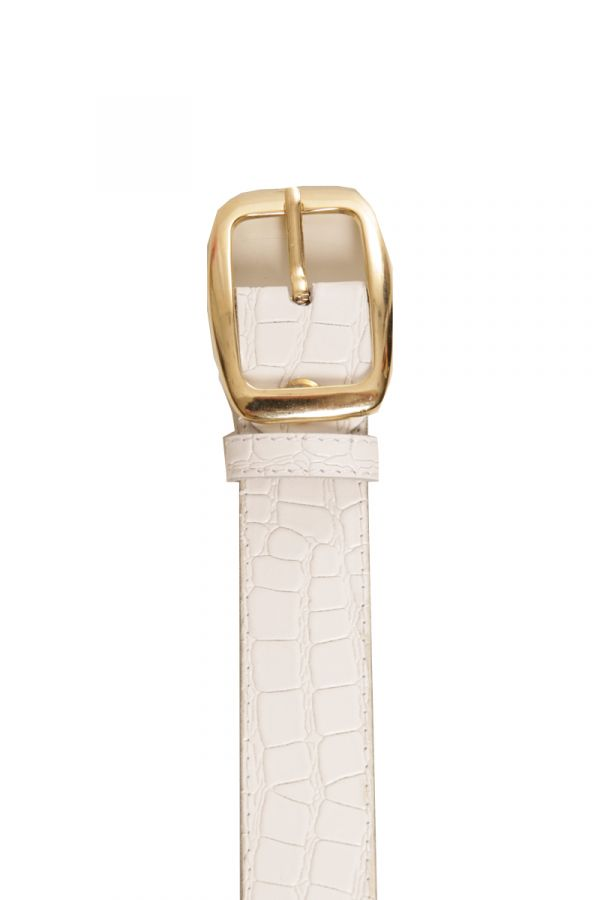 3cm croc belt with rectangular buckle in white colour