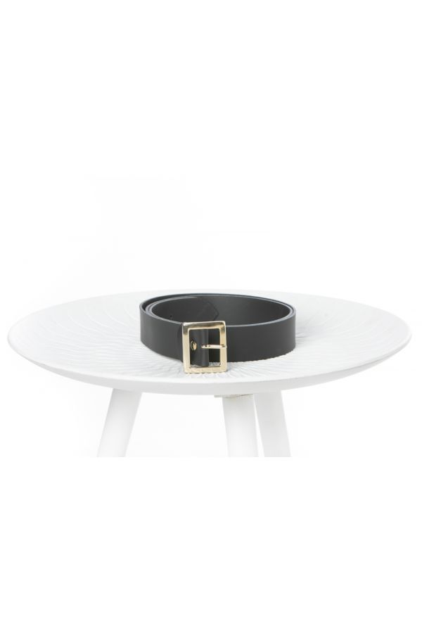 4cm leather belt with rectangular buckle in black colour