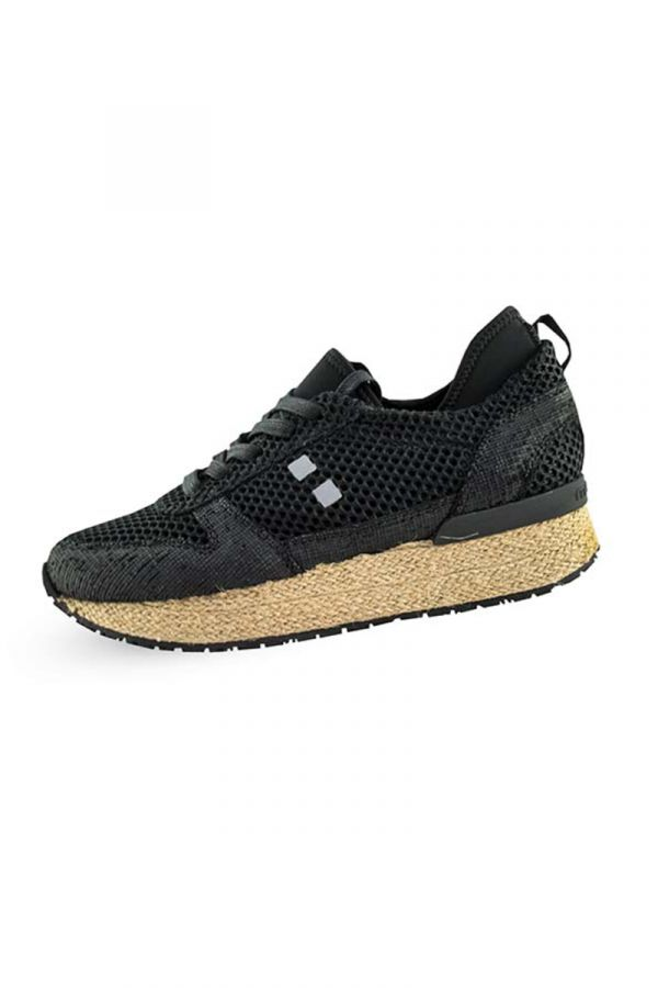 Espadrille lace up sneakers in black colour