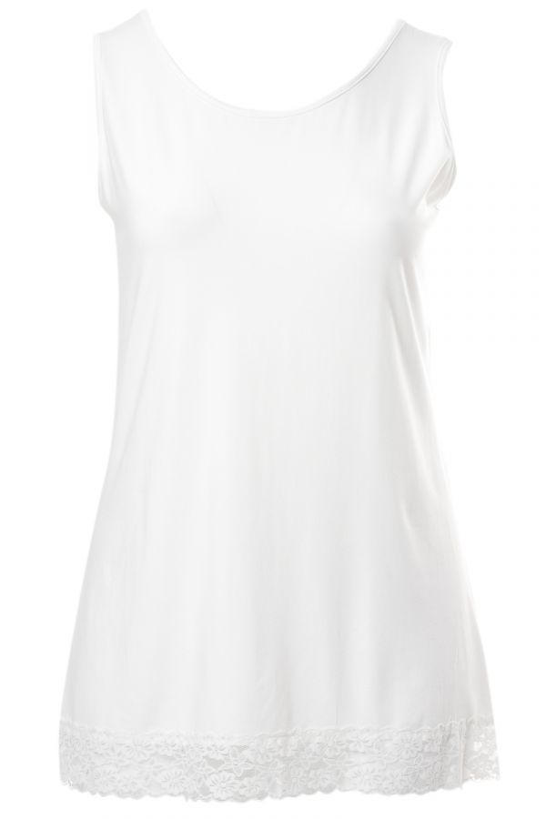 Light-weight tank top with lace detail in ecru colour
