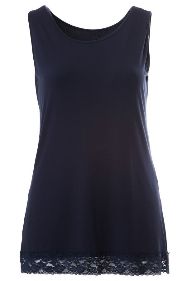 Light-weight tank top with lace detail in blue colour