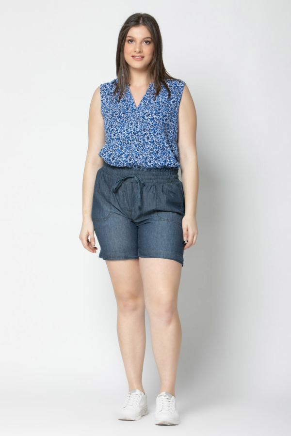Crepe top in blue colour