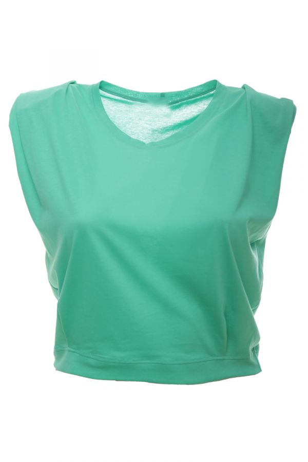 Sleeveless crop top with padded shoulders in green colour