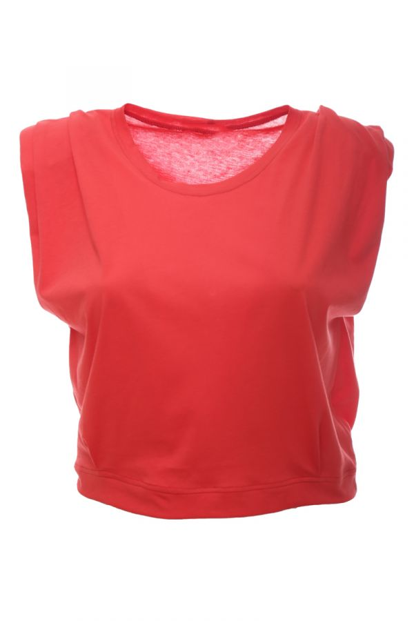 Sleeveless crop top with padded shoulders in dark pink colour